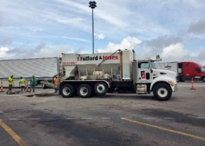 Fulford & Jones Asphalt, Inc. uses a volumetric concrete mixer to place concrete for utility work at Kenly 95 Truckstop in Kenly, NC.