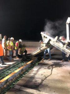 A Fulford & Jones, Inc., volumetric mixer places concrete for a bridge joint replacement on I-95 near Roanoke Rapids, NC.